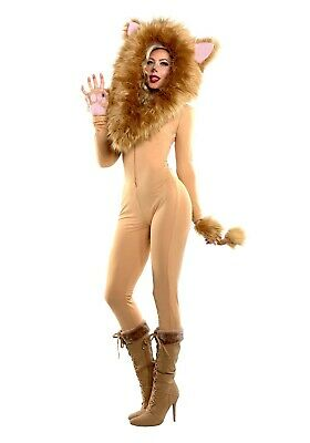 WOMEN'S HOODED LION JUMPSUIT COSTUME SIZE XL (with defect) - Lion Costume For Women
