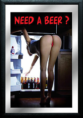 Need a Beer ? Pin Up Nostalgie Barspiegel Spiegel Bar Mirror 22 x 32 cm