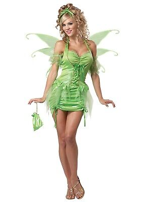 Tinkerbell Fairy Costume 5 Pc Green Halter Dress Sleeves Wings Pouch & Headpiece