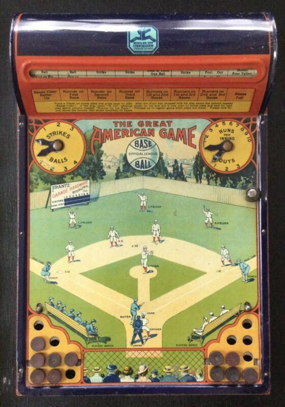 1920s Hustler Toys The Great American Game Tin Baseball Lithograph Vintage Game