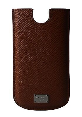 NEW DOLCE & GABBANA Phone Case Cover Brown Silver Logo Leather 13,5x7,5 cm