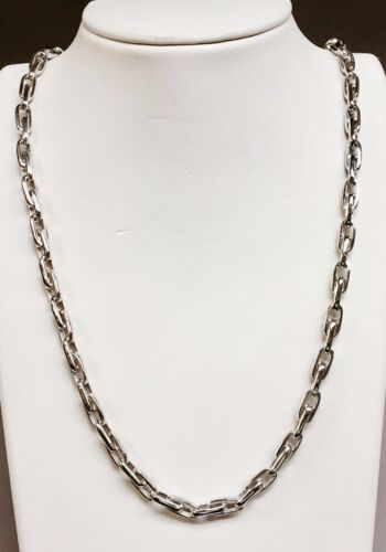 "14k Solid White Gold Handmade Rolo Link Chain/necklace 26"" 70 Grms 5.75 Mm"