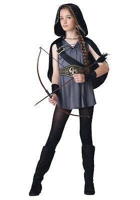 Girls Huntress Costume (GIRLS HOODED HUNTRESS COSTUME KATNISS HUNGER GAMES SIZE MEDIUM 10-12 (w/)