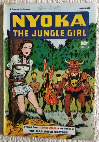 Golden Age NYOKA JUNGLE GIRL #14 VG-  BONDAGE COVER!