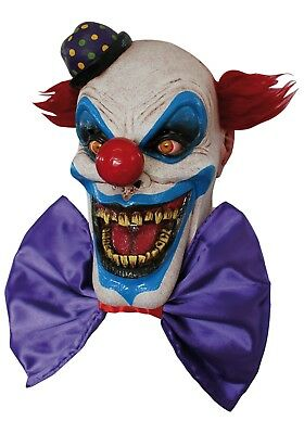 Psycho Killer Klown DELUXE ADULT LATEX CHOMPO THE CLOWN MASK W/ BOW TIE