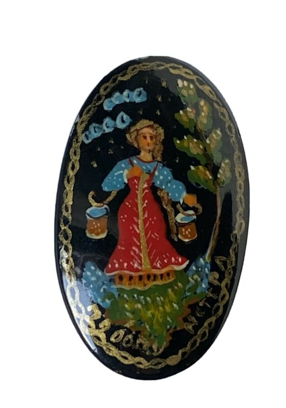 Vintage Russian Signed Black Lacquer Hand Painted Brooch Pin