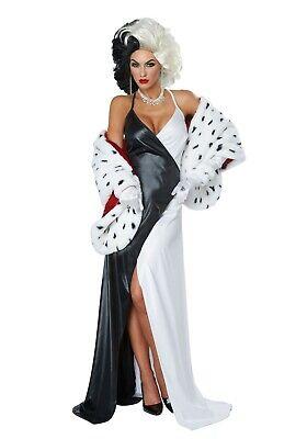 Devil Diva Costume (Women's Cruel Diva Cruella DeVil Dalmatians Costume Dress SIZE XS)
