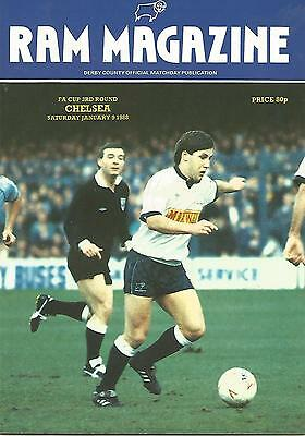 Football Programme - Derby County v Chelsea - FA Cup - 9/1/1988