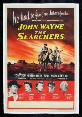 THE SEARCHERS ✯ CineMasterpieces WESTERN ORIGINAL MOVIE POSTER JOHN WAYNE 1956