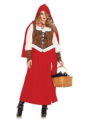 Woodland Red Riding Hood Dress n Hood Cape Fairy Tale Adult Halloween Costume
