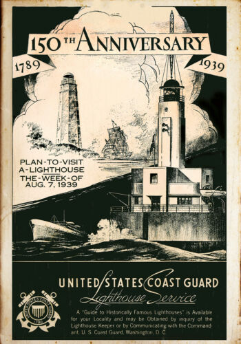 United States Coast Guard light house service 150 Anniversary poster