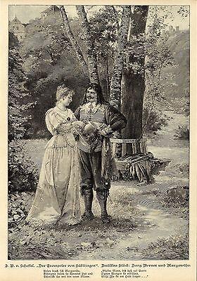 Der Trompeter von Säkkingen: Jung Werner und Margaret Graphik Holzstich um 1900