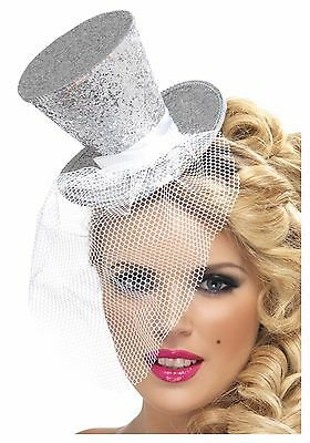 Silver Mini Top Hat on Headband Mad Hatter Costume Fancy Dress Glitter Womens (Mad Hatter Headband)
