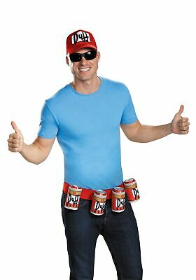 Duffman Kit The Simpsons Hat & Belt Duff Beer Man Mascot Halloween Costume Gift - Duffman Beer Belt