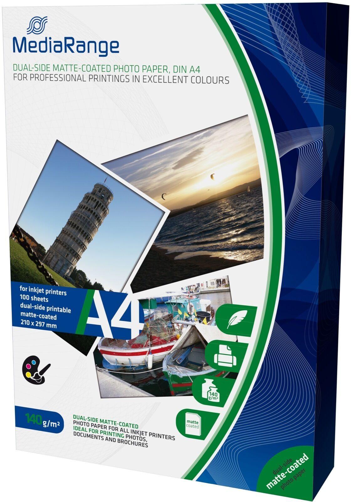 500 Mediarange Fotopapier 140g matt beidseitig für Tintenstrahl Drucker DIN A4