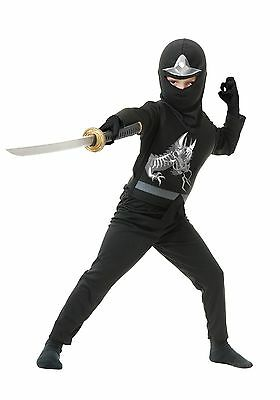 NINJA AVENGERS SERIES II BLACK NINJAGO BOYS HALLOWEEN COSTUME SIZE LARGE - Black Ninjago Costume