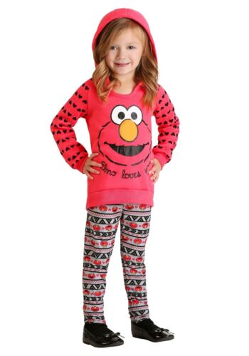 GIRLS ELMO LOVES YOU HOODED SWEATSHIRT HOODIE SIZE 4T