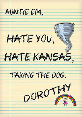 MAGNET Humor Fridge Dorothy Note Hate Kansas Taking Dog Auntie Em Rainbow