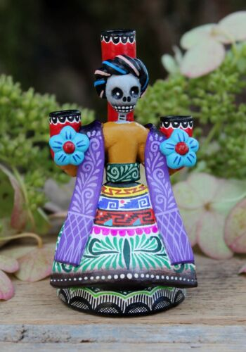 Tiny Frida Kahlo Day of the Dead Candlestick Handmade Puebla Mexican Folk Art