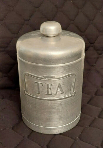 Spun Aluminum TEA CANISTER only Heller Hostess Ware Italy