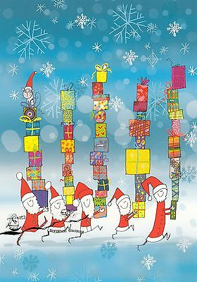 Kunstkarte: Majewska - Weihnachtsmänner mit Geschenken