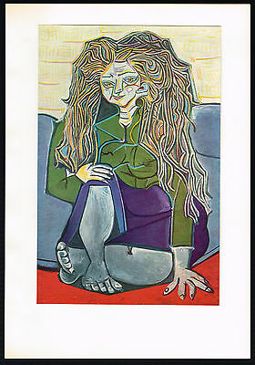 1950s Old Vintage Abstract Old Woman Pablo Picasso Art Offset Lithograph Print