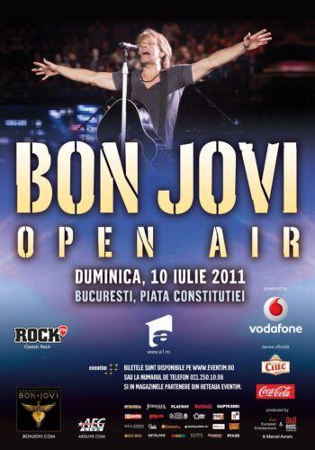 """BON JOVI """"OPEN AIR"""" 2011 BUCHAREST CONCERT TOUR POSTER- Rock,Pop/Hard Rock Music"""
