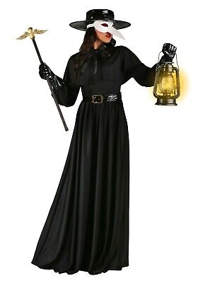 Doctor Costume For Women (WOMEN'S BLACK PLAGUE DOCTOR COSTUME SIZE L (with)
