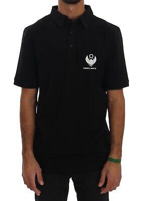NEW $160 FRANKIE MORELLO Polo T-shirt Black Cotton Stretch Logo Mens Top s. L
