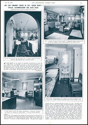 1936 ANTIQUE PRINT SHIPPING QUEEN MARY ART AND COMFORT ACCOMMODATION (374)