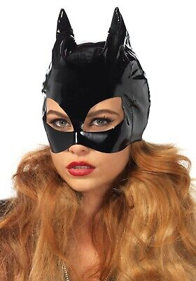 Cat Woman Mask (Leg Avenue Black Vinyl PVC Cat Mask Cat Woman Wet Look Fancy Dress)