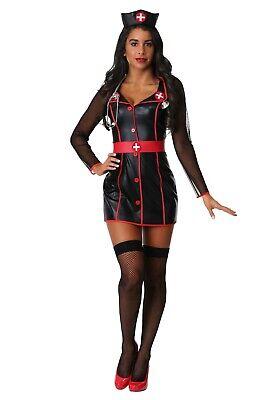 WOMEN'S NIGHT SHIFT BLACK and RED NURSE COSTUME SIZE XS or L (w/defect) - Black And Red Nurse Costume