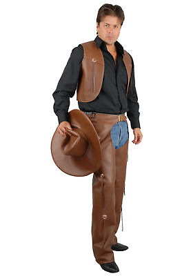 Western Faux Leather Chaps & Vest Cowboy Costume Outfit Adult Men Brown Pleather - Cowboy Outfit For Men