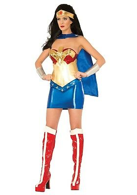 WOMEN'S DELUXE WONDER WOMAN CORSET COSTUME SIZE M/L - Wonder Woman Deluxe Corset Womens Costume
