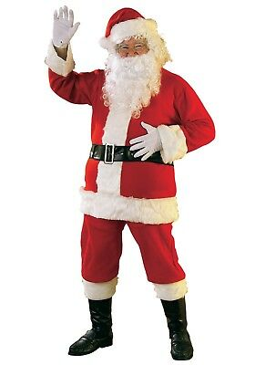 Santa Claus Costume 6Pc Red Flannel Coat Pants Hat Boot Tops & Belt Plus Size  - Santa Claus Coat