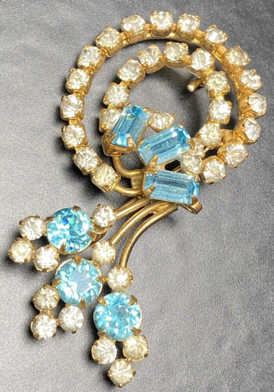 "ANTOINETTE 12k Gold Filled Vintage Brooch Pin 2"" Blue Topaz Crystal Rhinestones"