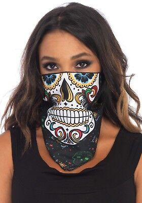 Unisex Zuckerschädel Kopftuch Gesichtsmaske Tag der Toten (Zucker Schädel Maske Kostüm)
