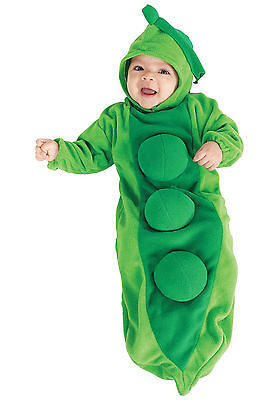 RUBIE'S PEA IN A POD BABY BUNTING COSTUME! GREEN PEAS NEW [SIZE NEWBORN] - Baby Pea Costume