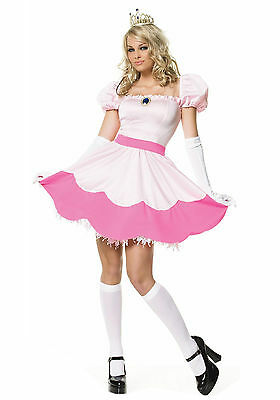 Sexy Halloween Adult Women's Pink Video Game Princess Peach Costume w Gloves