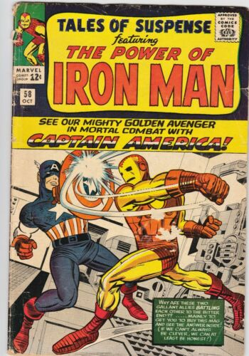 Tales of Suspense #58 Silver Age Marvel Comic CAPTAIN AMERICA vs IRON MAN