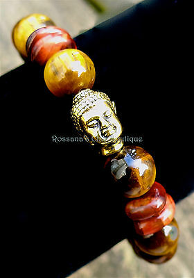 Gold and red tigers eye bracelet w/ gold plated Buddha prosperity and success Red Golden Tigers Eye