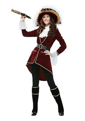 WOMEN'S CAPTAIN HOOK PIRATE COSTUME SIZE LARGE (w/defect)