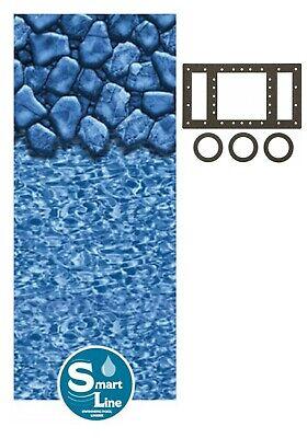 Round & Oval Aboveground Boulder Swirl Swimming Pool Unibead Liner w/ Gasket Kit