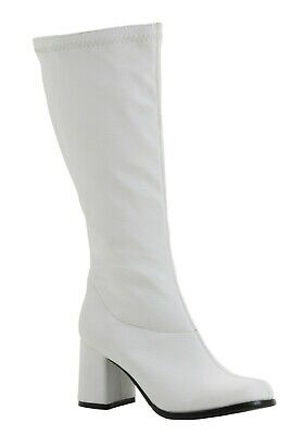 ADULT DELUXE FAUX LEATHER WHITE GOGO BOOTS SIZE 6 (with defect) - White Gogo Boots Size 6