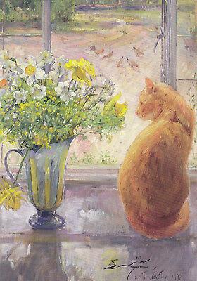 Kunstkarte: Easton - Gestreifter Krug mit Frühlingsblumen / 1992