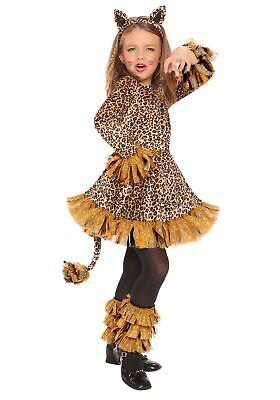 Leopard Girls Costume (Adorable Girls Leopard Print Velvety Costume Dress Glitter Wild Child MED)