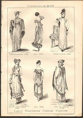 1883 ANTIQUE PRINT- ART - EARLY NINETEENTH CENTURY COSTUME