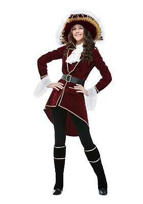 Ladies Captain Hook Costume (WOMEN'S CAPTAIN HOOK PIRATE COSTUME SIZE MEDIUM (missing jabot &)