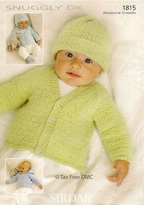 VAT Free Knitting PATTERN ONLY Sirdar Baby Cardigans Hats Mittens Booties 1815 Free Knitting Pattern Baby Hats