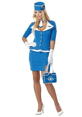 WOMEN'S SEXY RETRO STEWARDESS FLIGHT ATTENDANT COSTUME SIZE M 8-10 (with defect)](Retro Air Hostess Costume)
